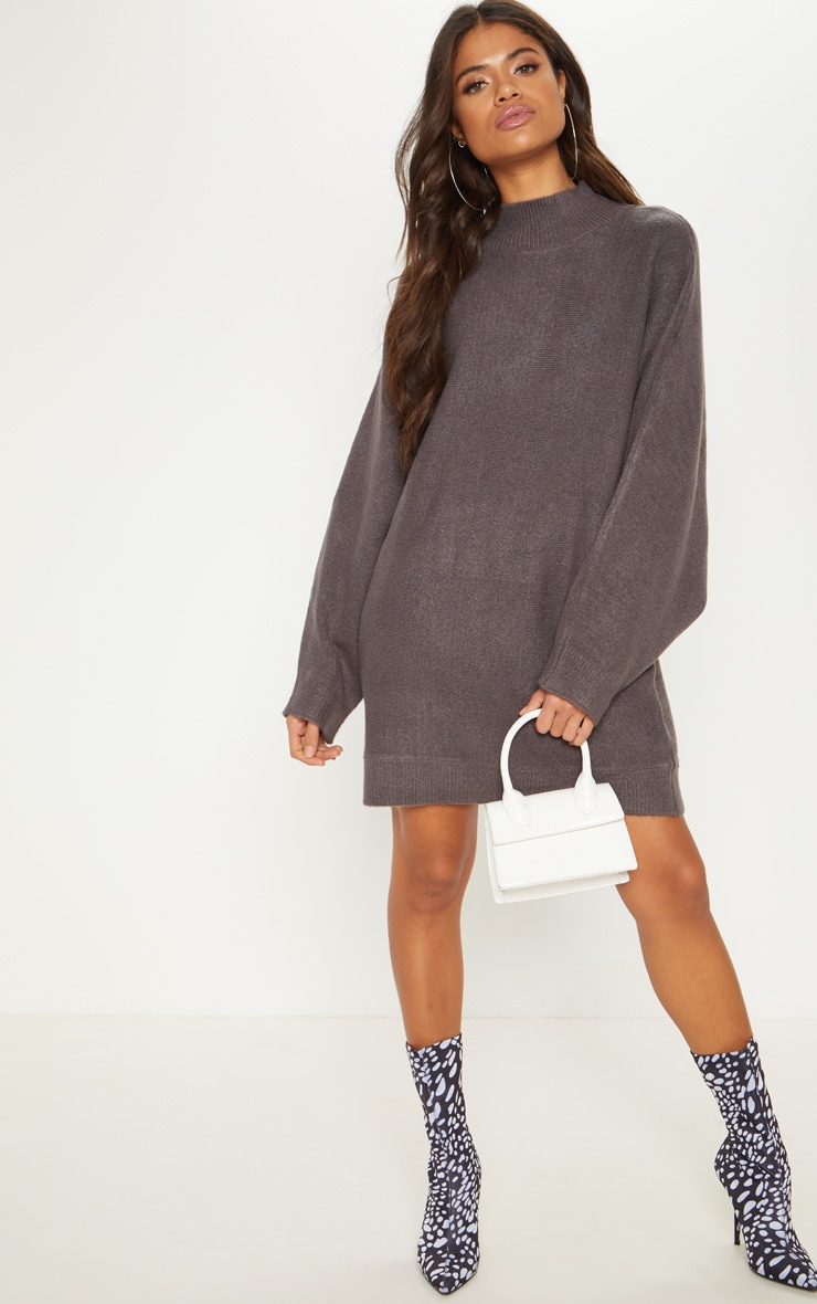 Robe pull en maille gris anthracite
