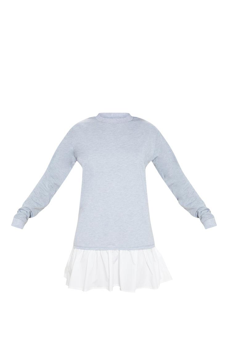 Grey Sweater Dress with Poplin Frill 3