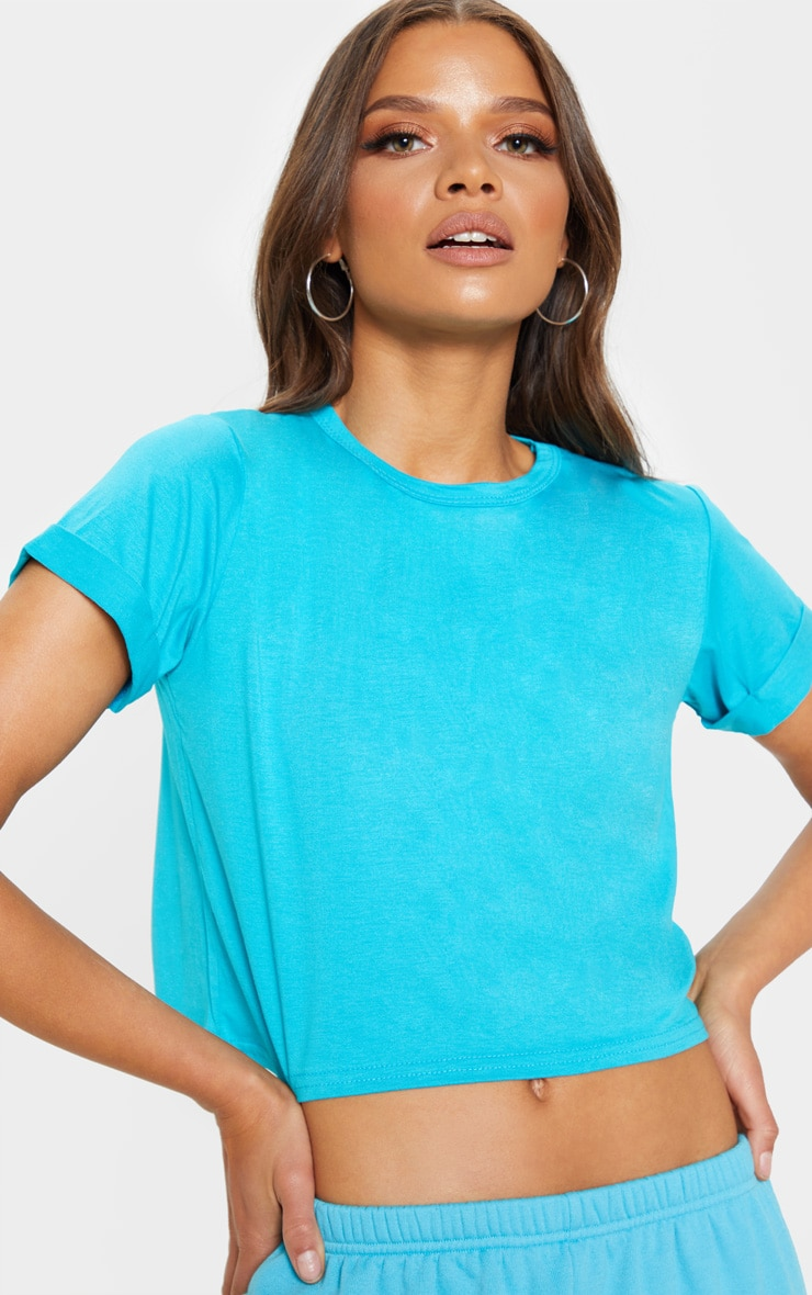 Basic Bright Blue Roll Sleeve T Shirt 5