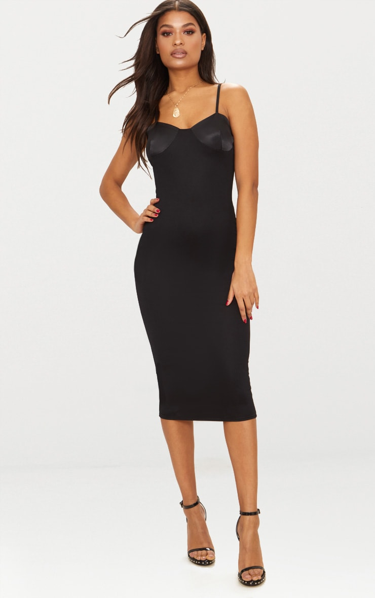 Black Satin Cup Detail Midi Dress 1