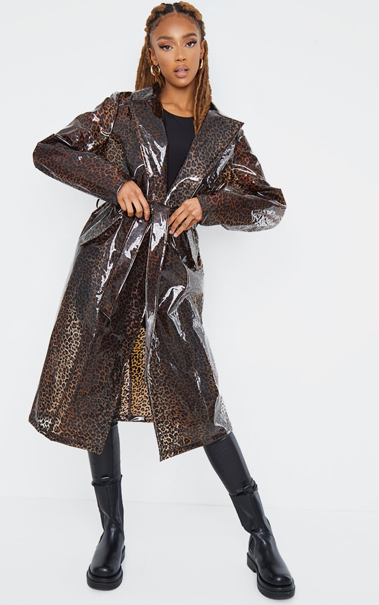 Brown Leopard Print Plastic Trench 1