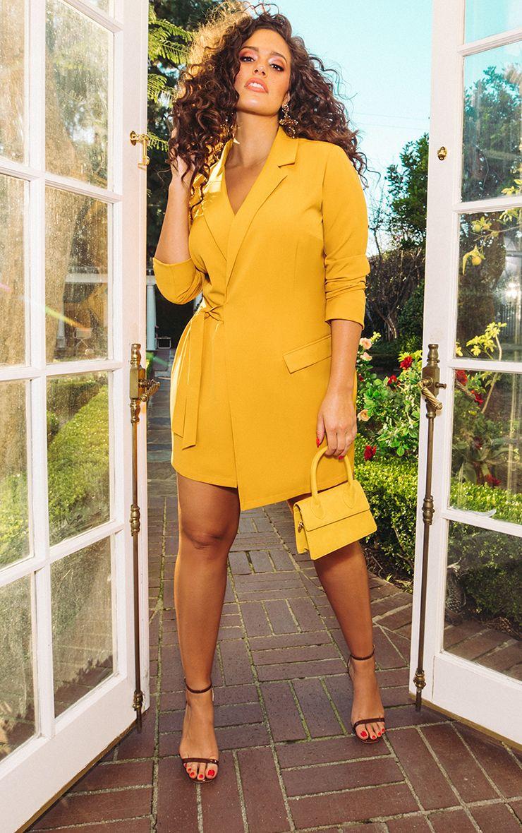 Mustard Tie Detail Blazer Dress 2