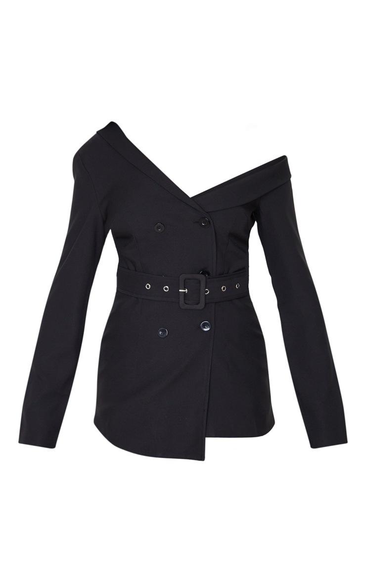 Black Woven One Shoulder Belted Blazer 3