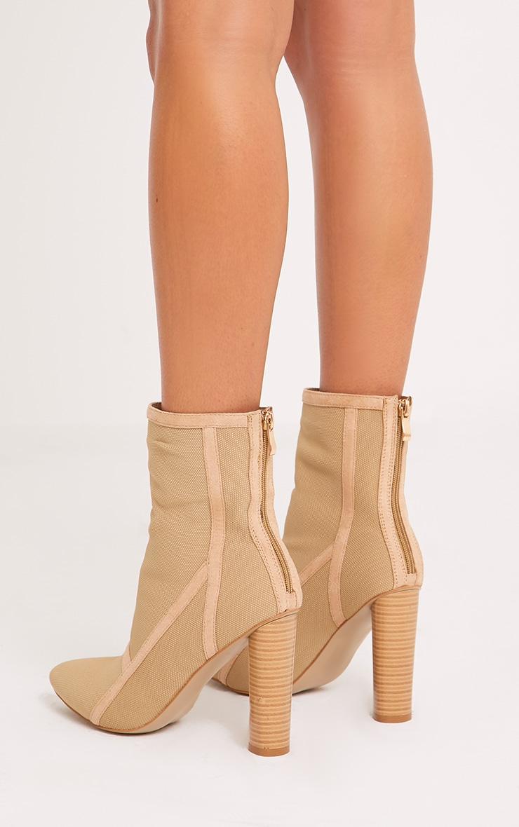 Kyra Nude Panelled Sock Boots 4