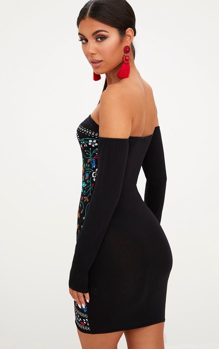 Black Long Sleeve Bardot Puff Print Bodycon Dress 2