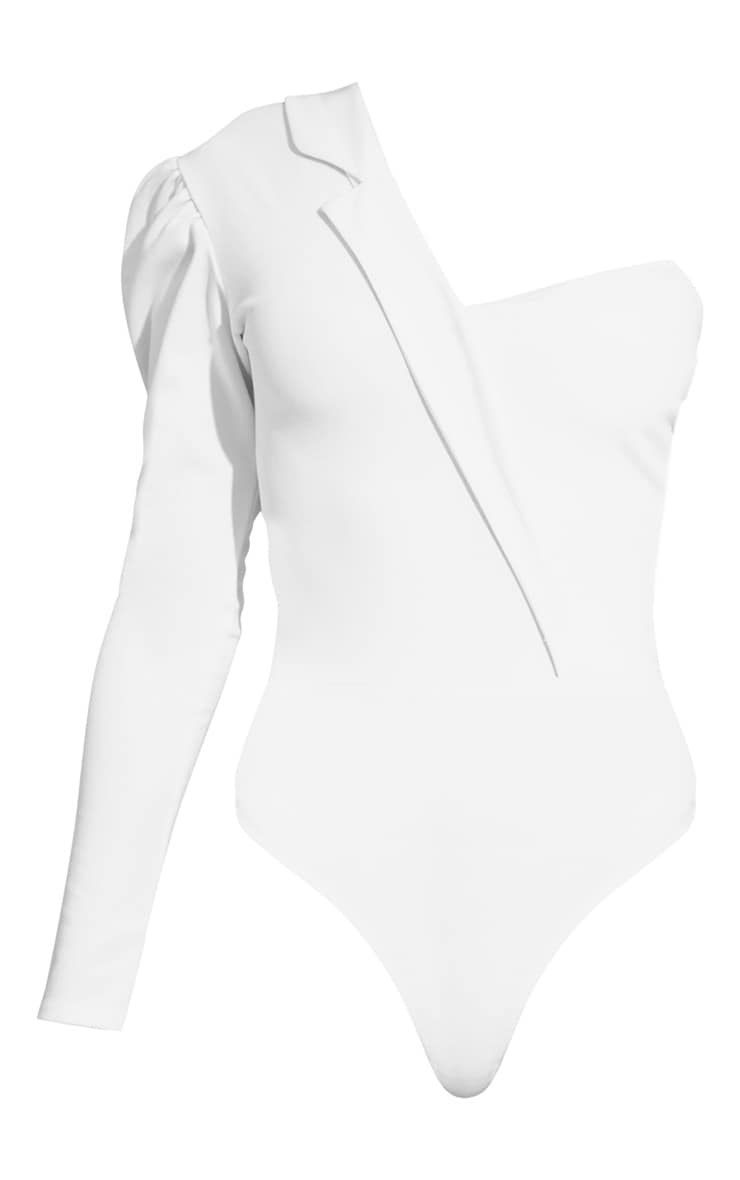 White One Shoulder Blazer Detail Bodysuit 3