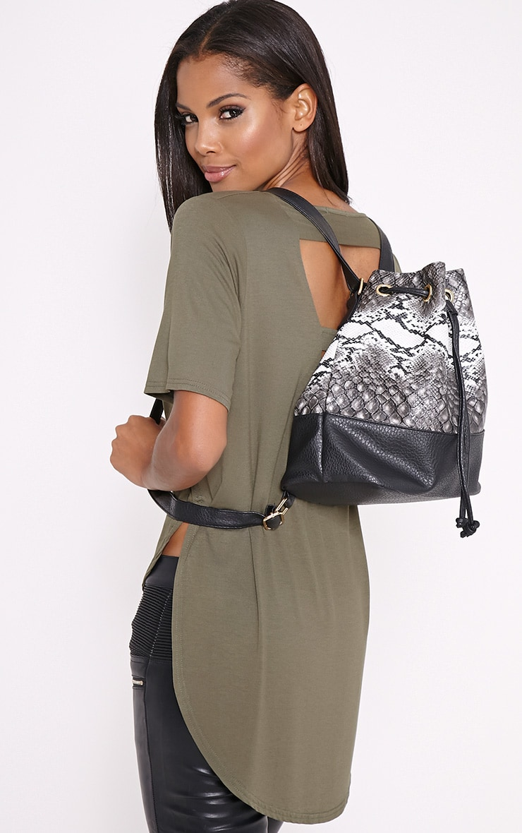 Oria Snakeprint Backpack 1