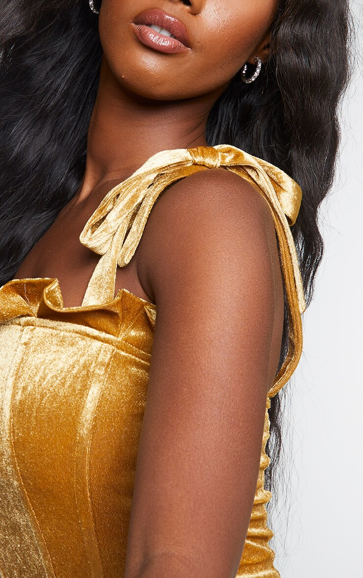 Gold Velvet Frill Top Edge Tie Strap Top 4
