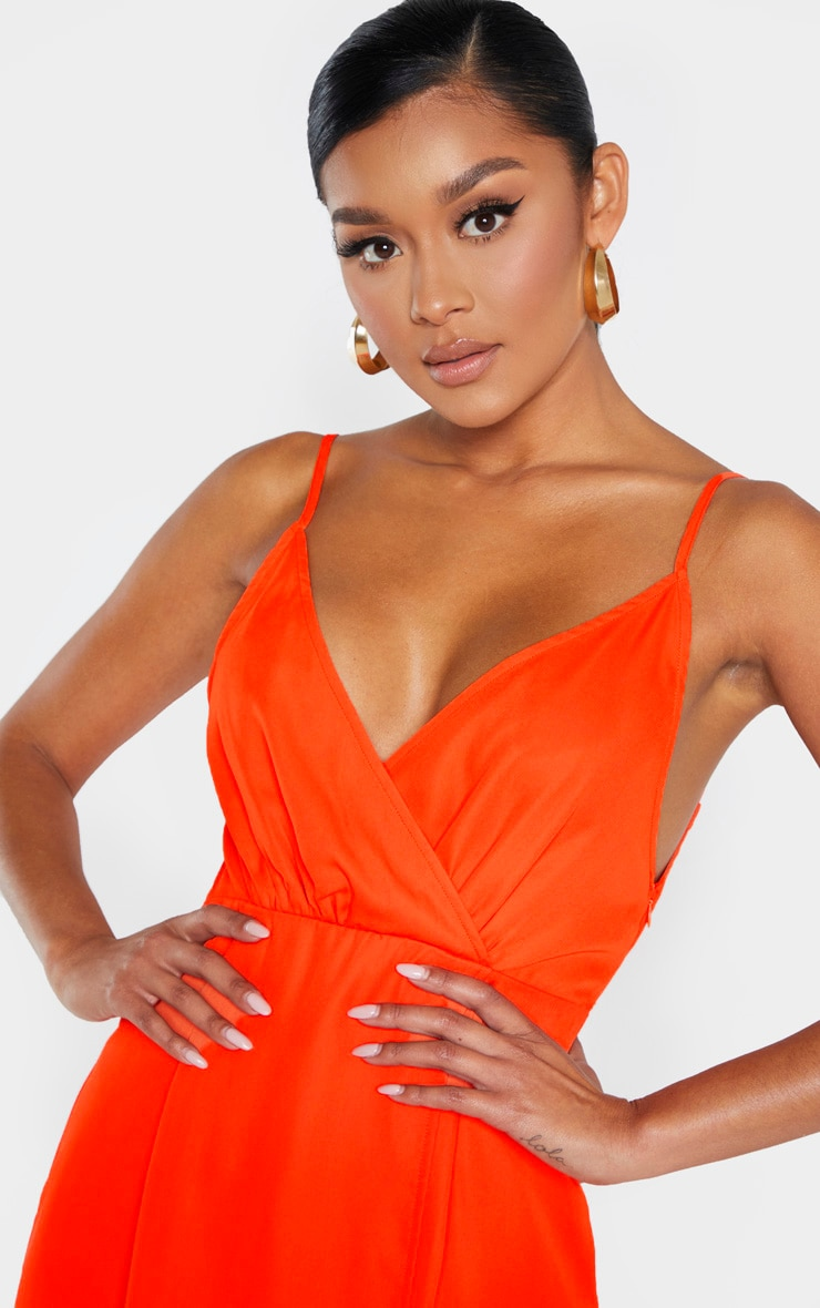 Bright Orange Chiffon Wrap Midi Dress 5