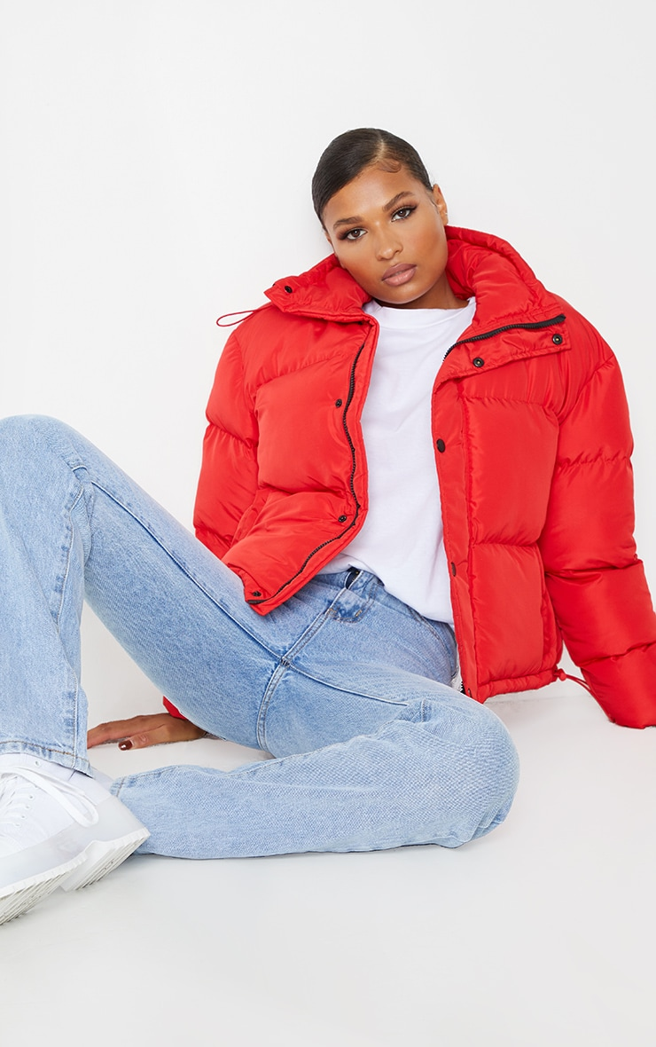Red Toggle Detail Puffer Jacket 3