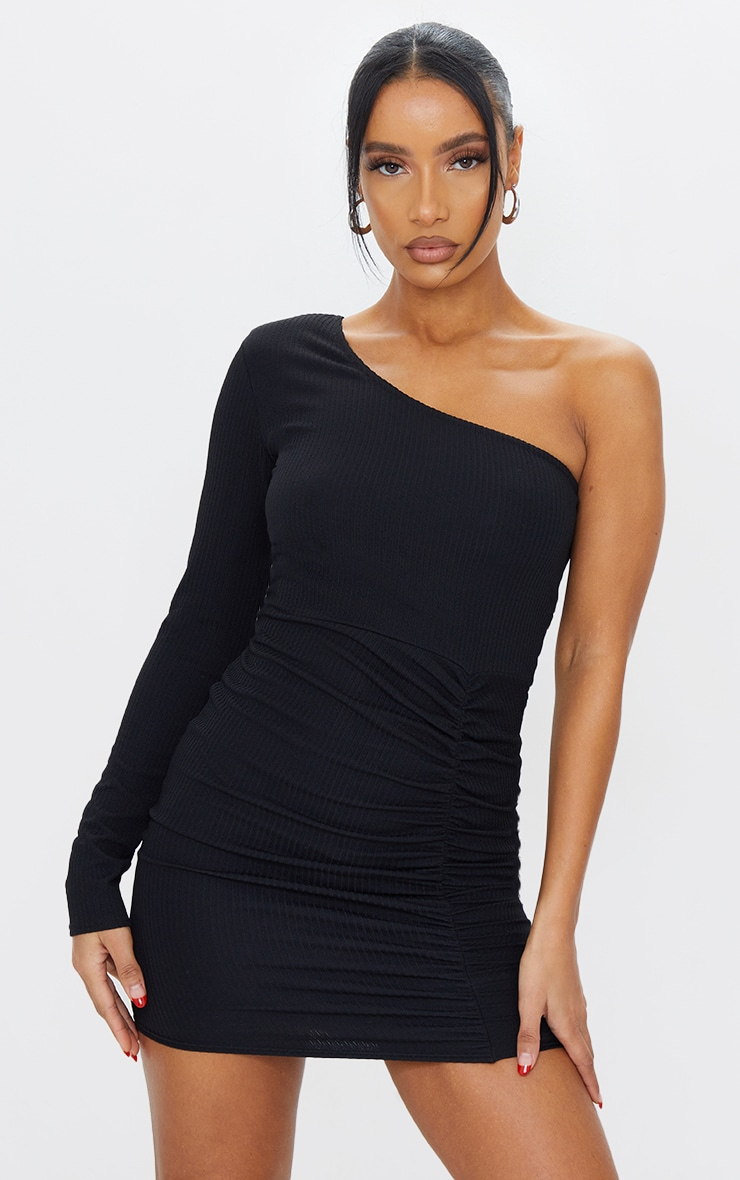 Black Ribbed One Shoulder Ruched Bodycon Dress 3