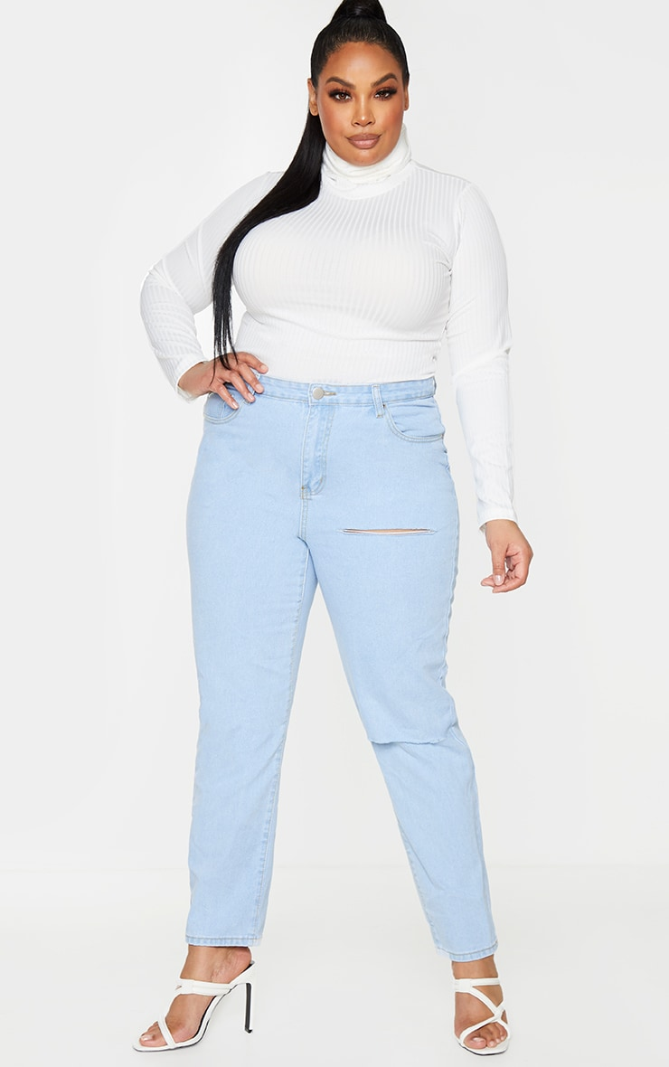 Plus Rheta Cream Ribbed Polo Neck Top 3
