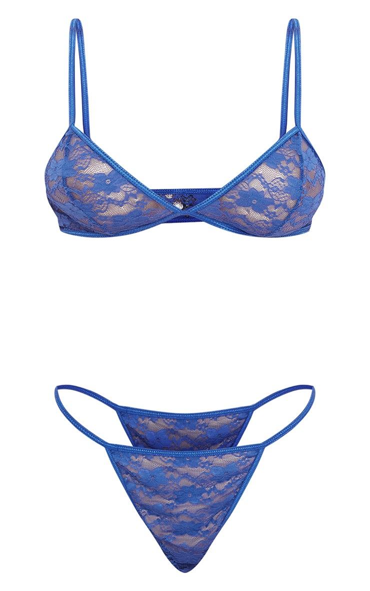 Ensemble de lingerie basique en dentelle bleu cobalt 5