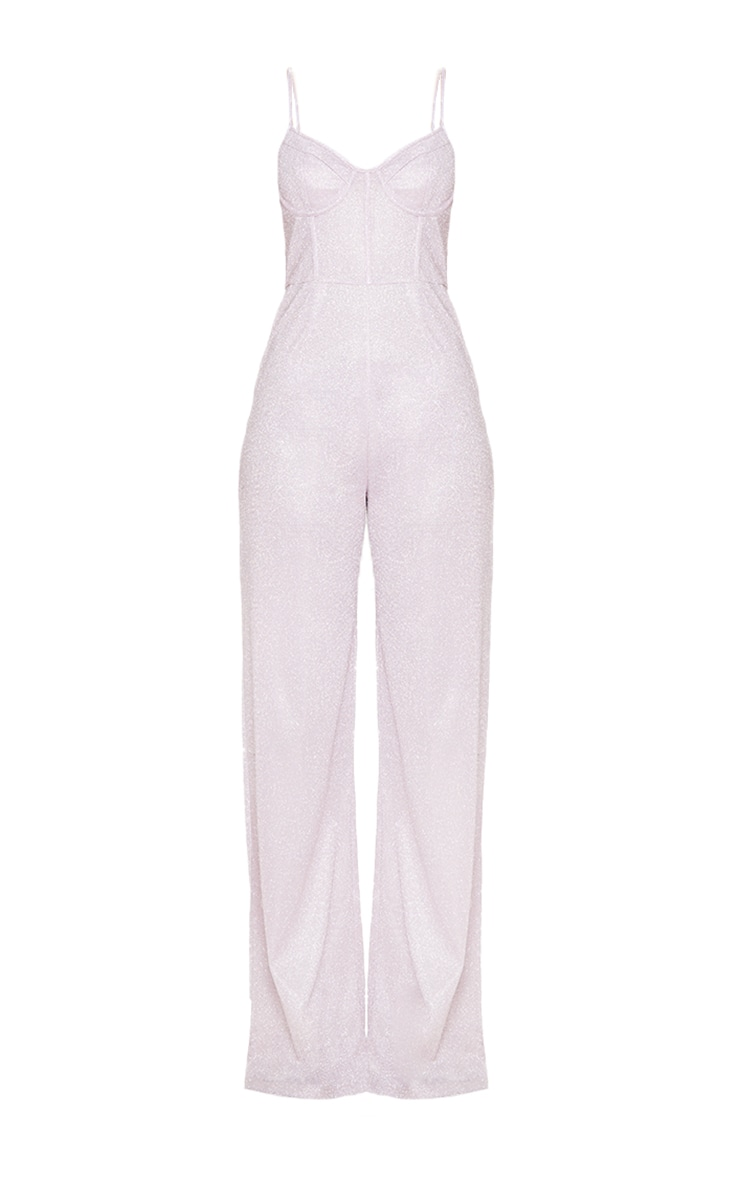 Pale Pink Glitter Cup Detail Wide Leg Jumpsuit 3