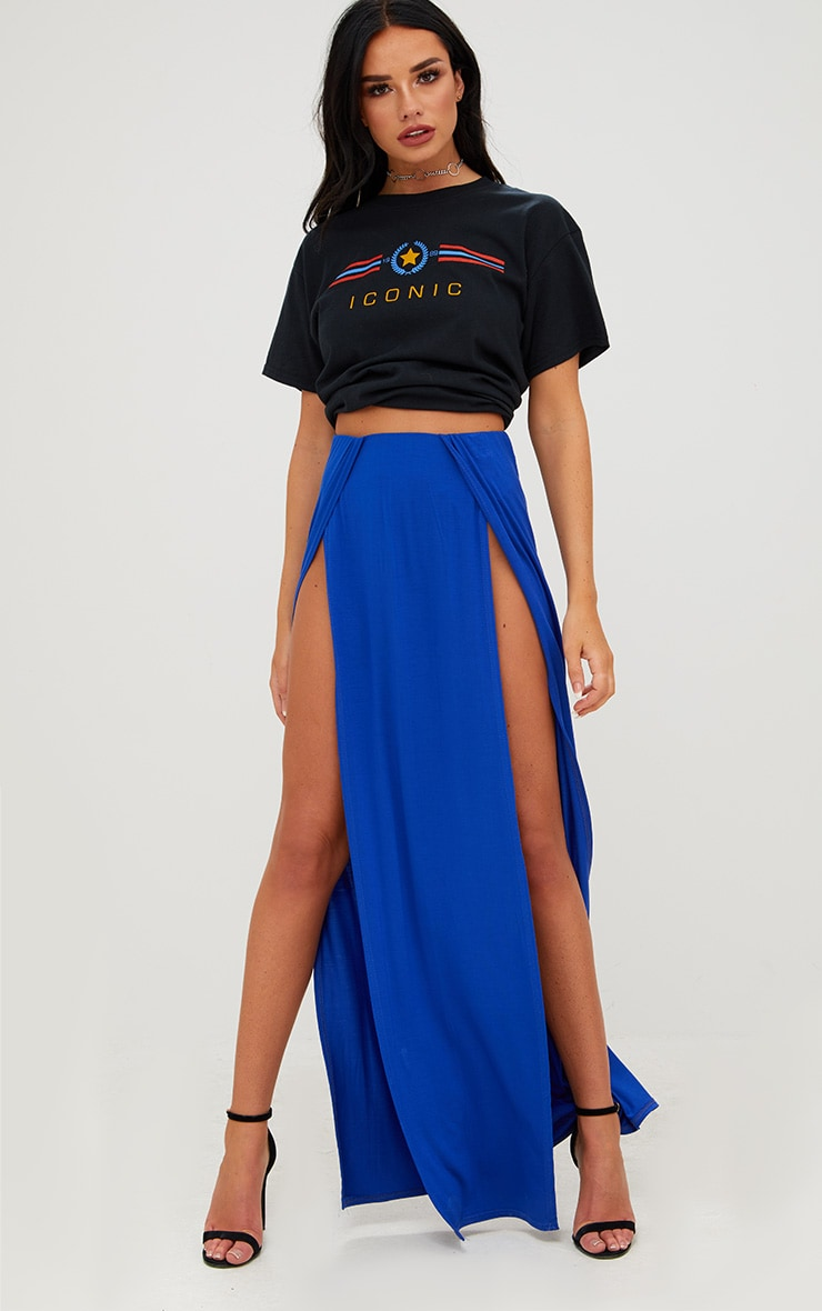 Cobalt Double Split Maxi Skirt 1