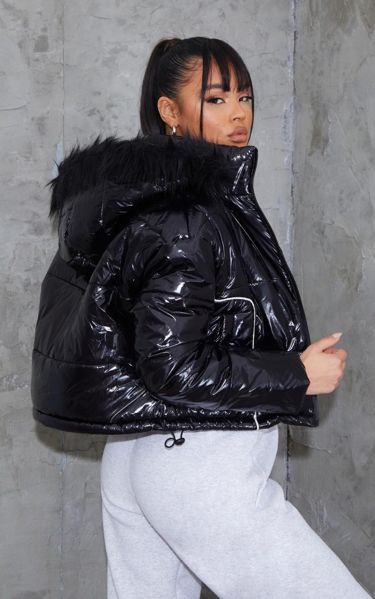 Black Super Cropped High Shine Hooded Puffer  2