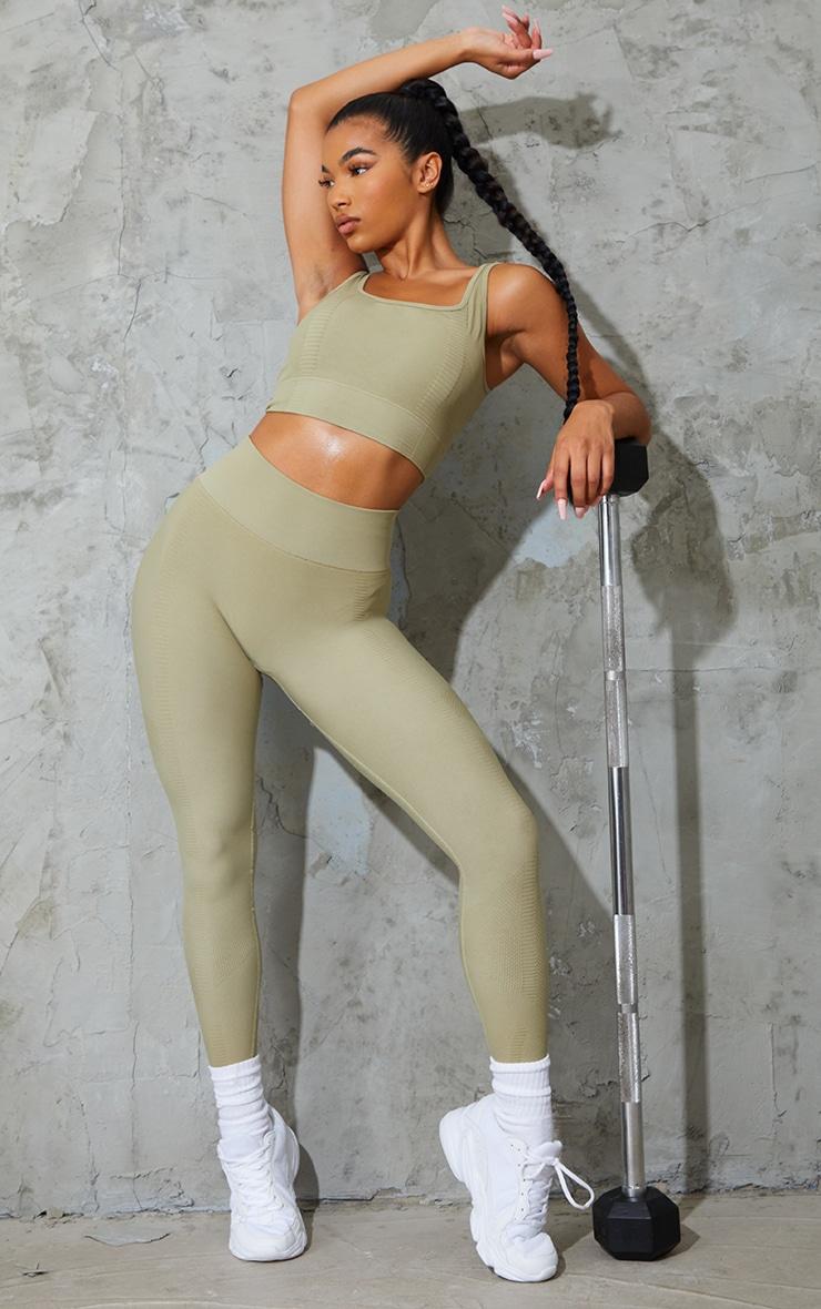 Green Panel Textured Seamless High Waist Gym Leggings