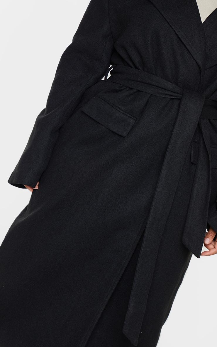 Plus Black Oversized Tie Waist Midi Coat 4