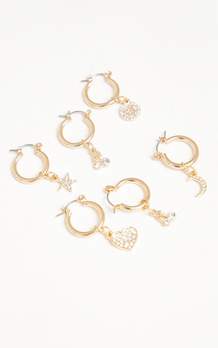 Gold Mini Diamante Motif Multi Pack Hoop Earrings 3