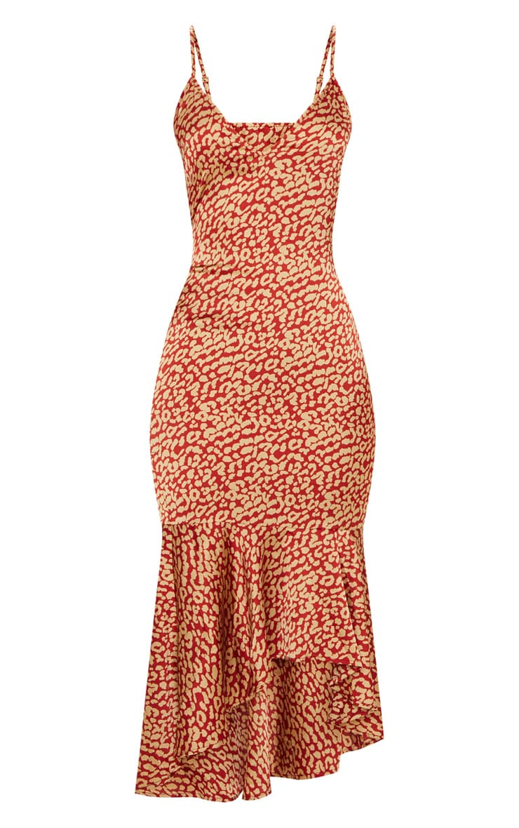 Red Leopard Print Frill Hem Midi Dress 3