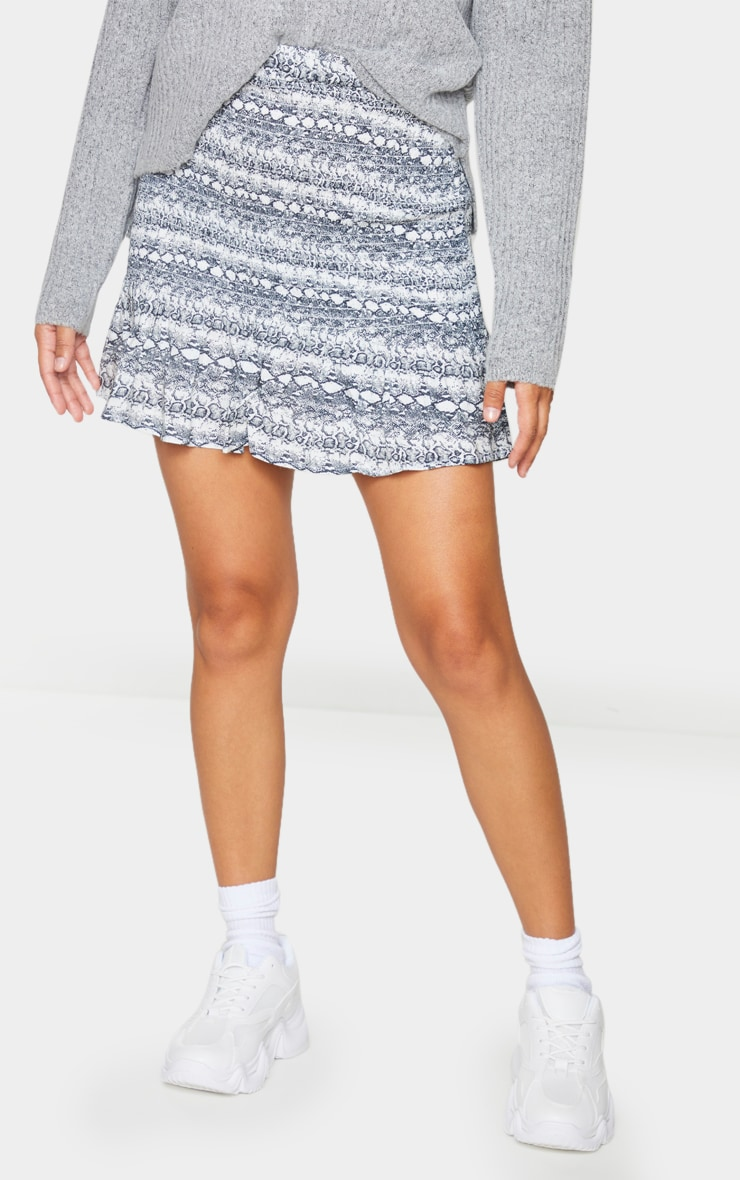 Grey Snake Woven Shirred Frill Hem Mini Skirt 2
