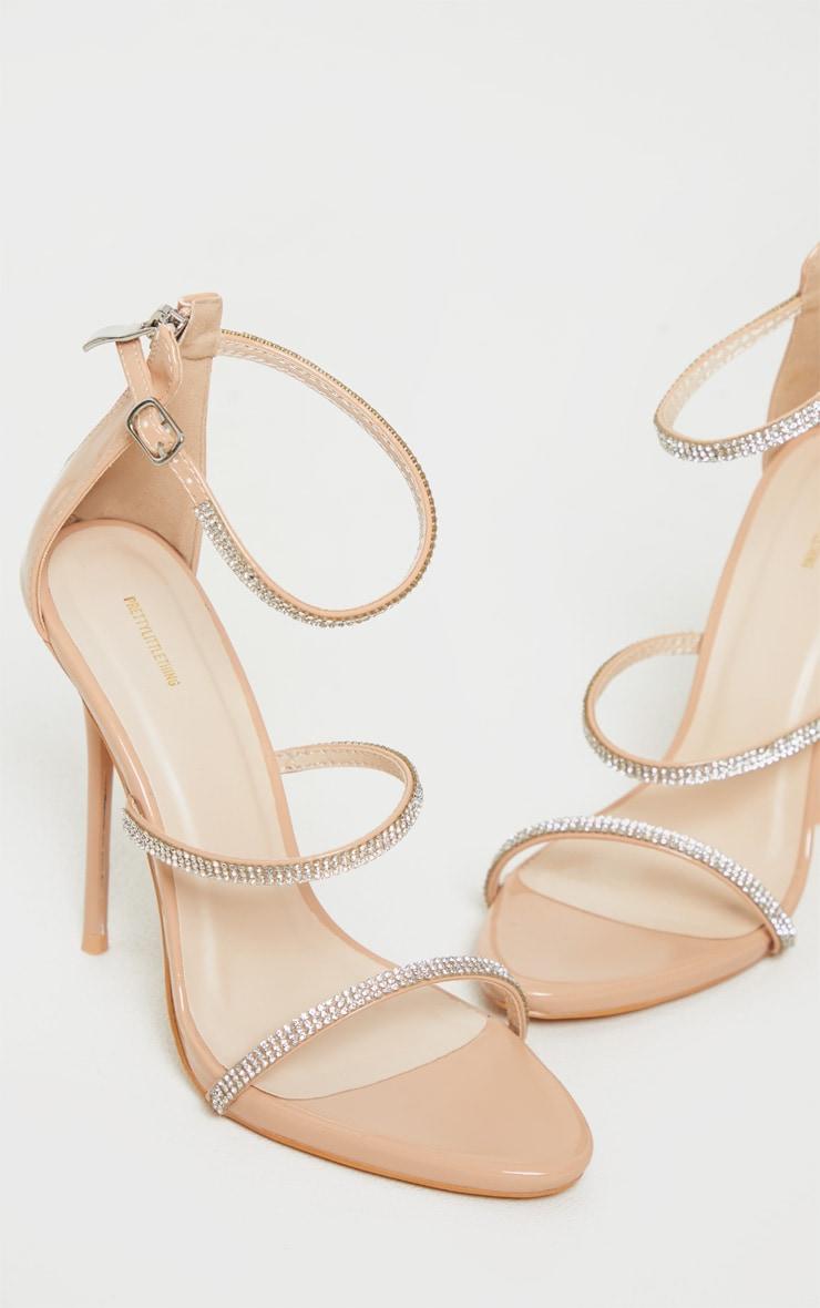 Nude Triple Strap Diamante Extreme Heel Sandal 3