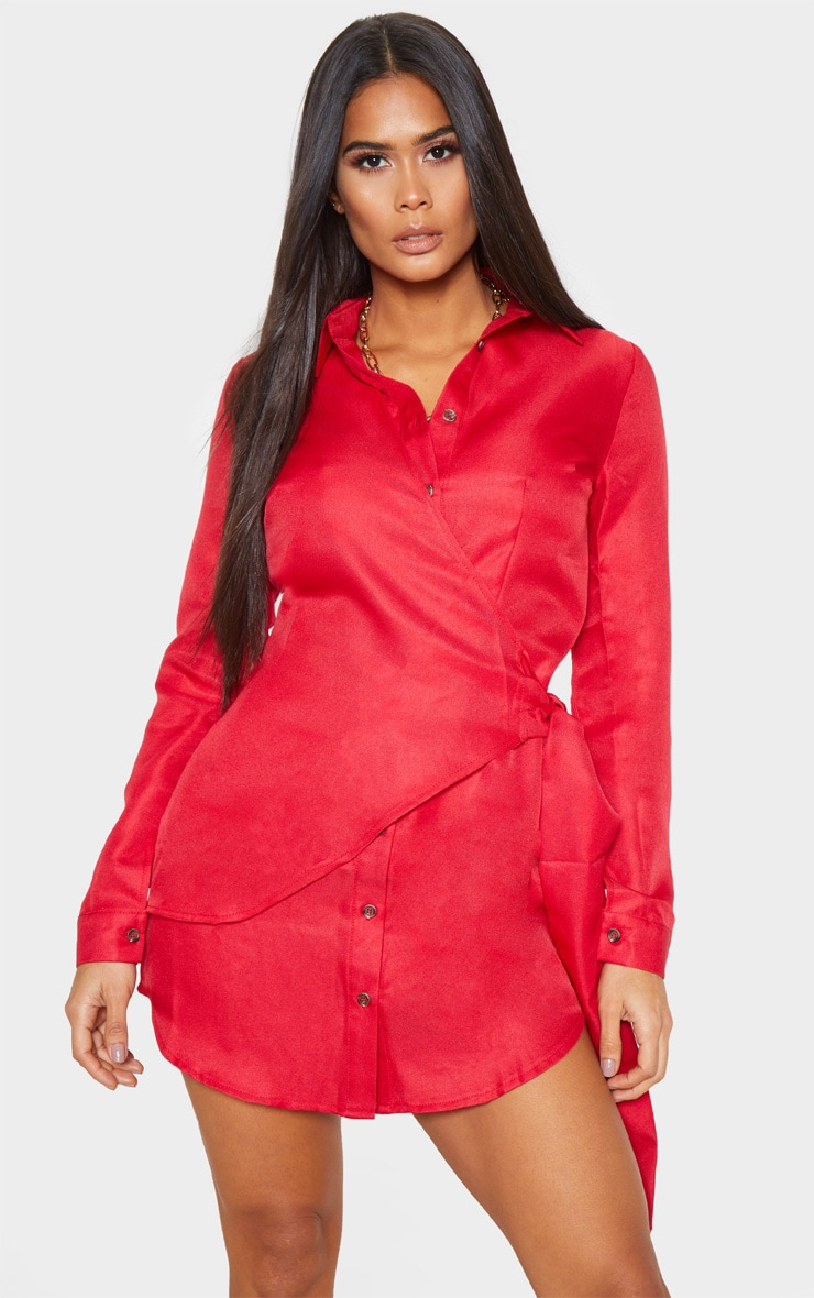 Red Tortoise Button Wrap Tie Shirt Dress 1