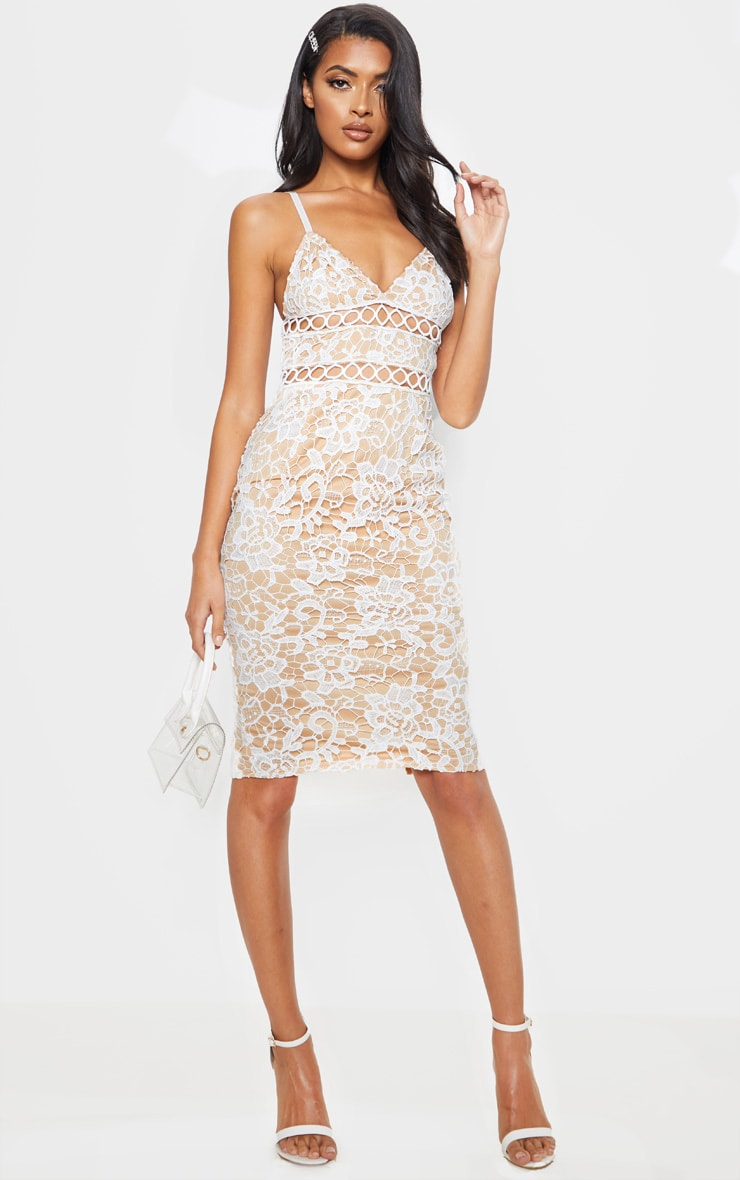 White Lace Cami Midi Dress 1