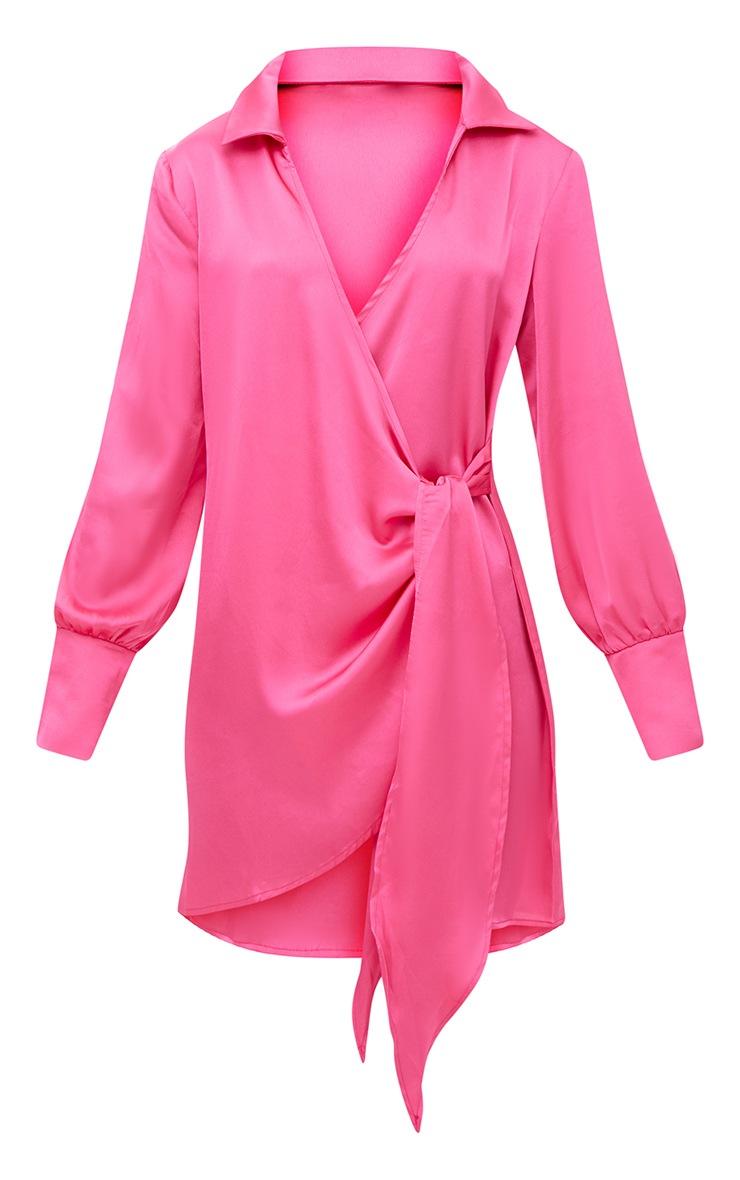 Hot Pink Satin Deep Cuff Wrap Front Shift Dress 3