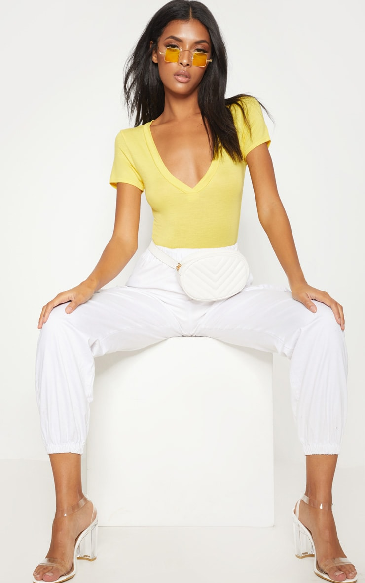 Lemon Jersey Plunge Short Sleeve Thong Bodysuit  1