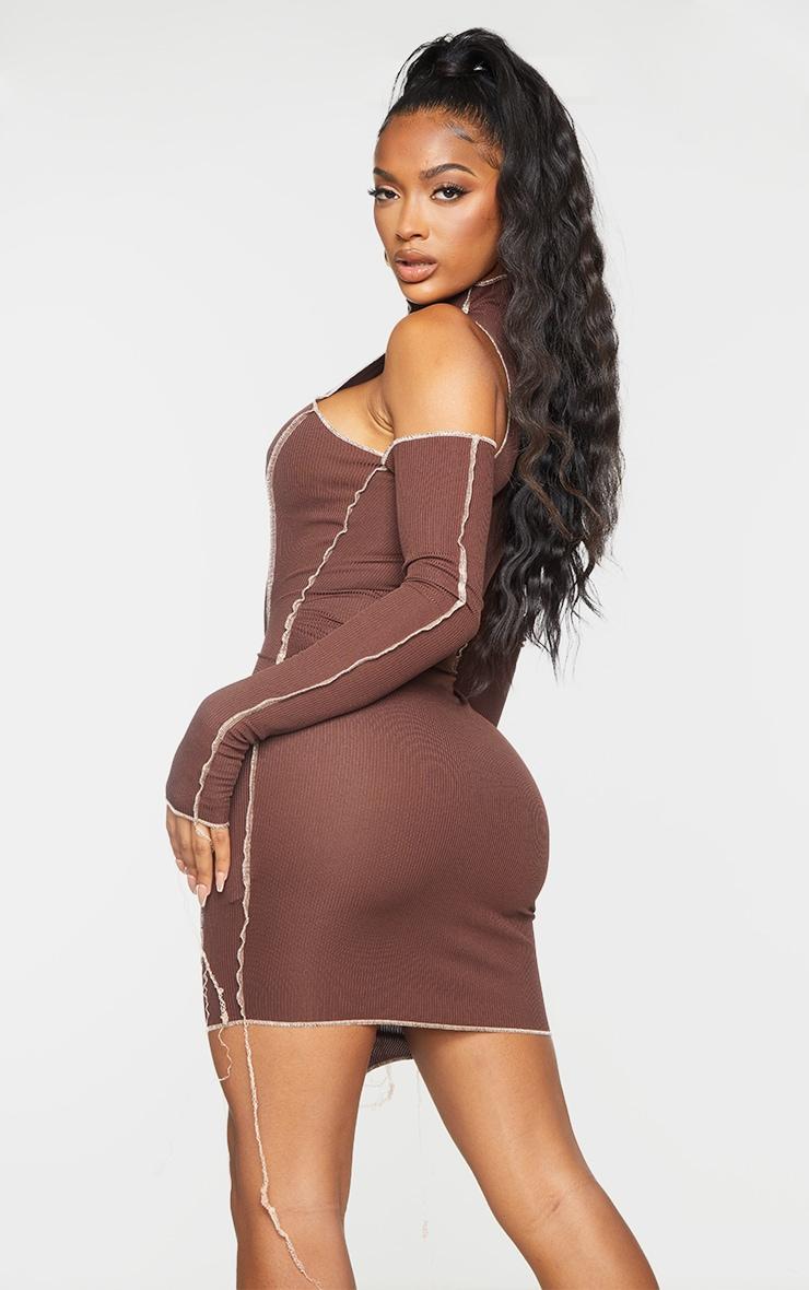 Shape Chocolate Brown Rib Overlock Seam Thumb Hole Bodycon Dress 2