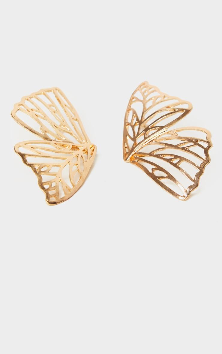 Boucles d'oreilles papillon dorées 2