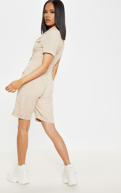 Stone Cord Pocket Detail Plunge Playsuit