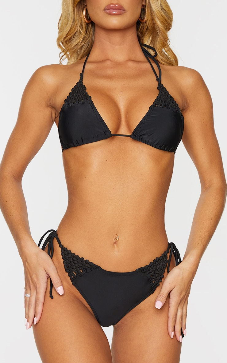 Black Crochet Tanga Bikini Bottom 1