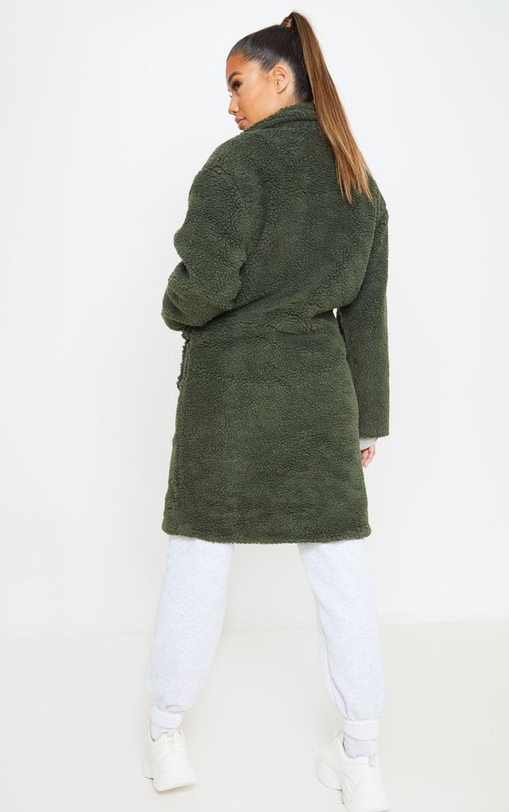 Khaki Borg Longline Coat 2
