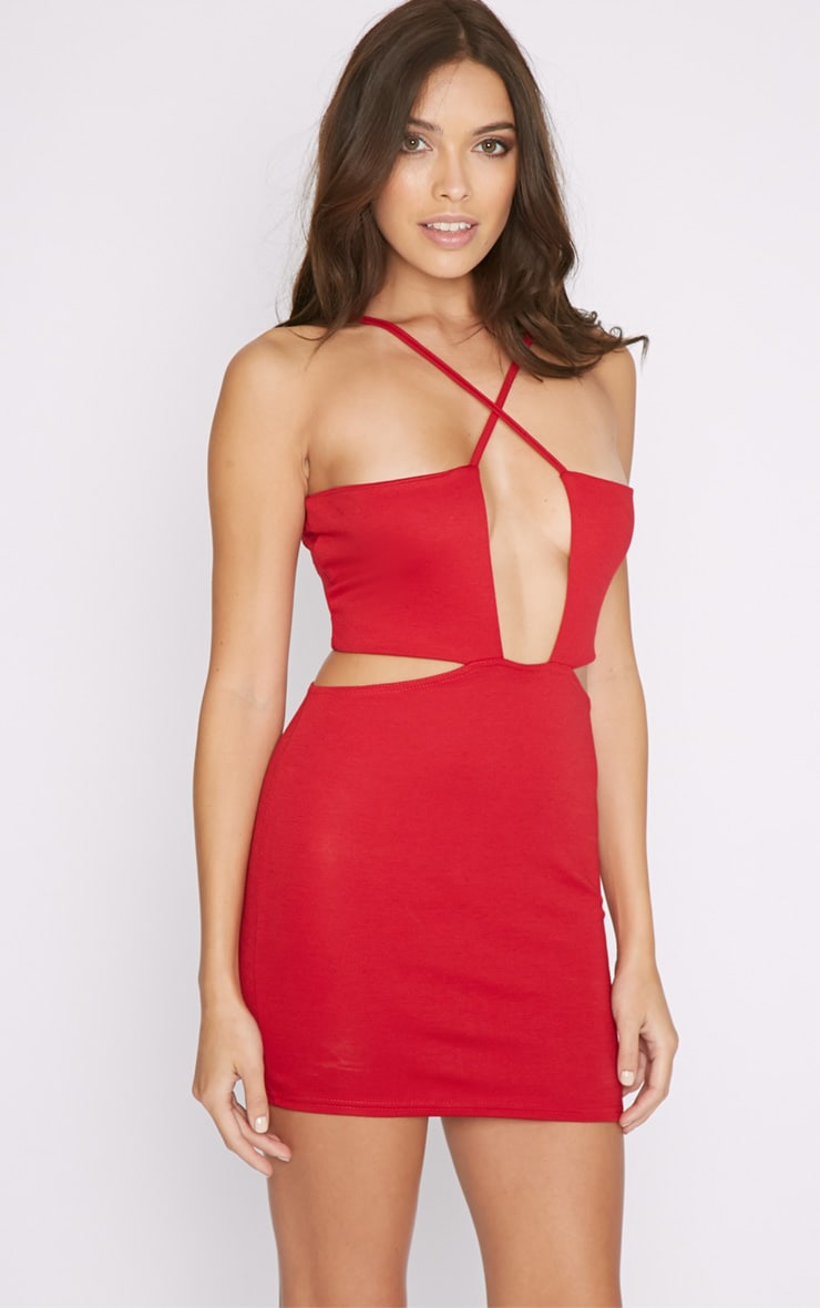 Melody Red Cut Out Plunge Mini Dress 4