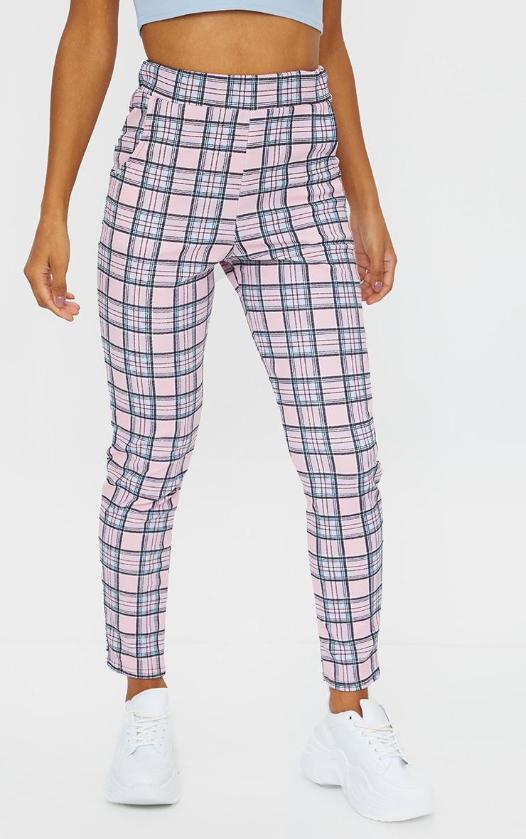 Pink Check Skinny Pants 2