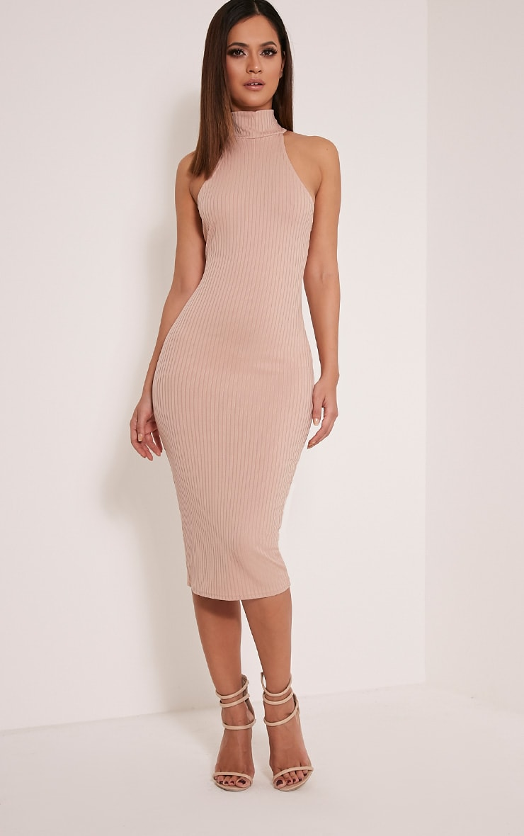 Pearla Taupe Racer Neck Ribbed Midi Dress 1