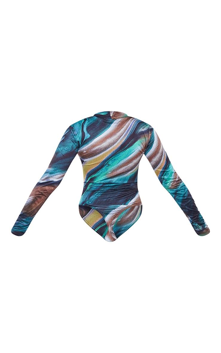 Dark Teal Marble Print Jersey Draped High Neck Bodysuit 6