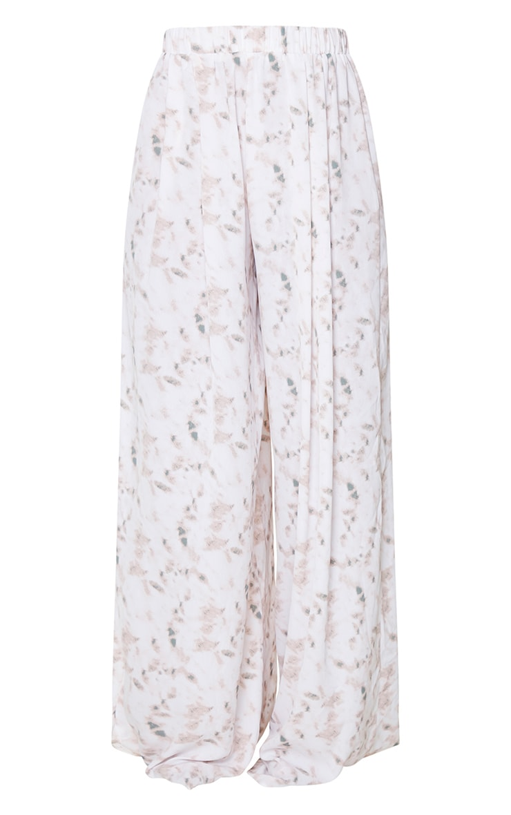 Light Pink Tie Dye Print Wide Leg Trousers 5