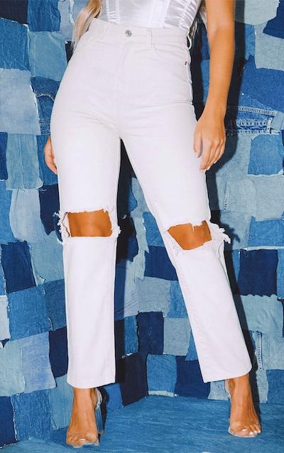 PRETTYLITTLETHING Ecru Knee Rip Straight Leg Jeans