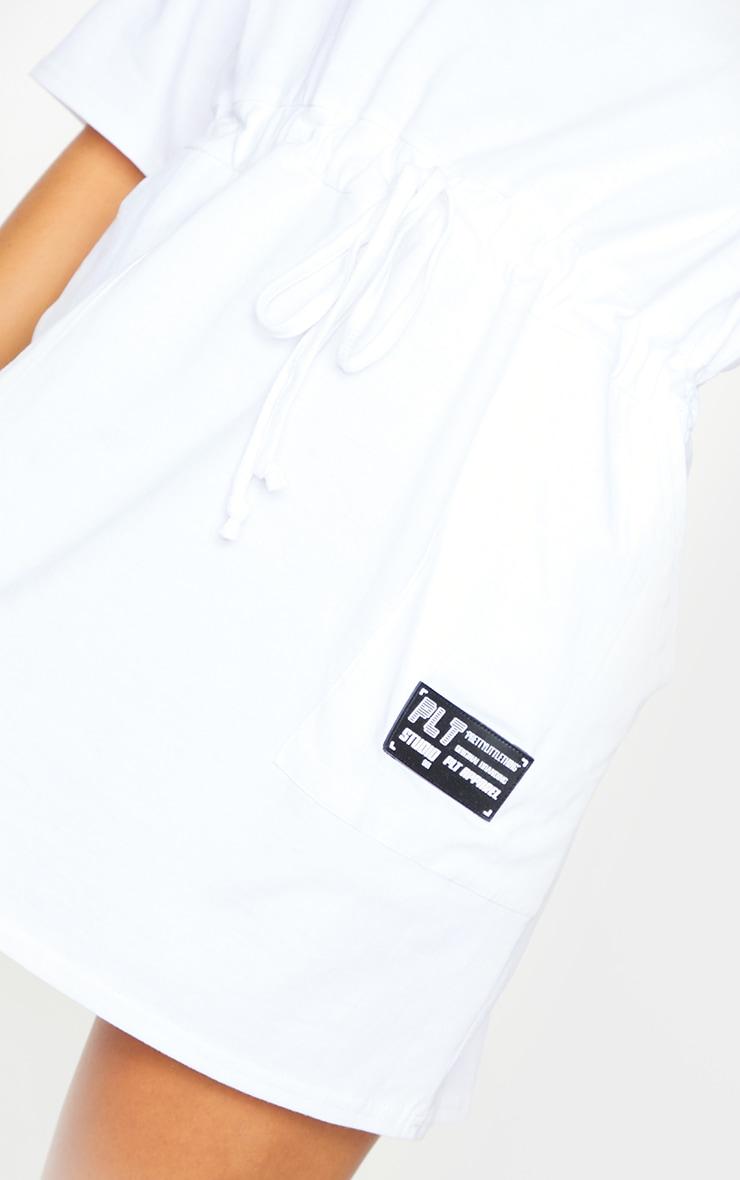 PRETTYLITTLETHING White Drawstring Waist T Shirt Dress 4
