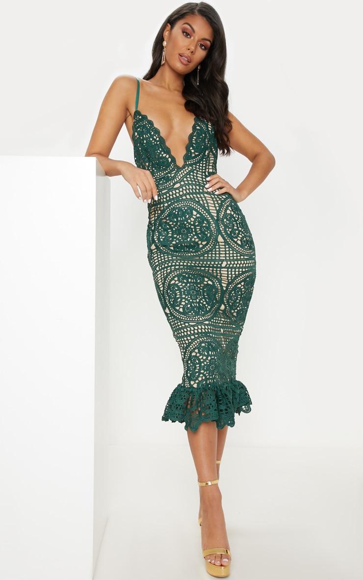 Emerald Green Strappy Thick Lace Frill Hem Midi Dress 1