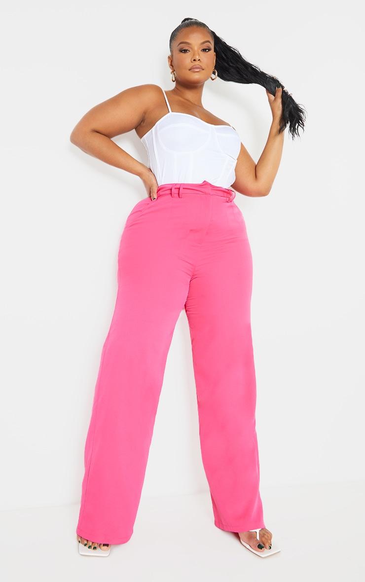Plus Pink Woven Wide Leg Belt Loop Pants 1