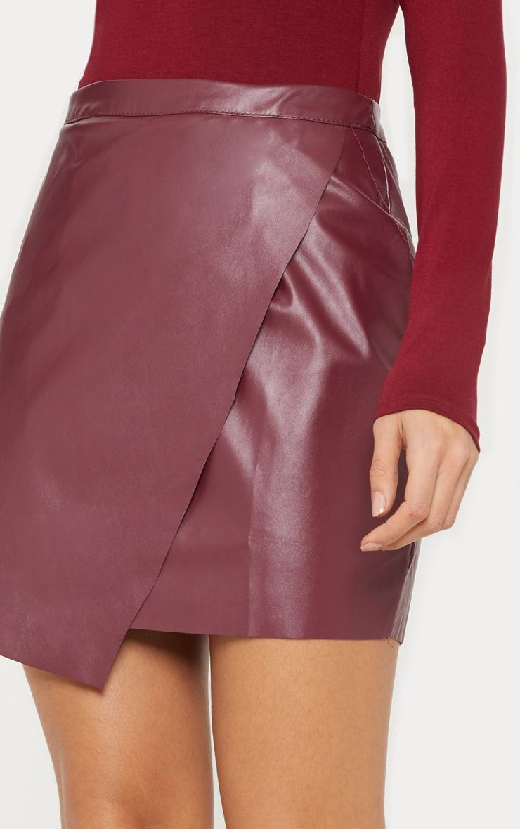 Brick Faux Leather Wrap Mini Skirt 6