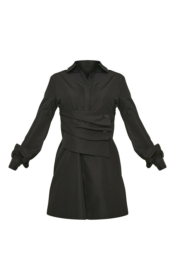 Tall Black Corset Detail Shirt Dress 5