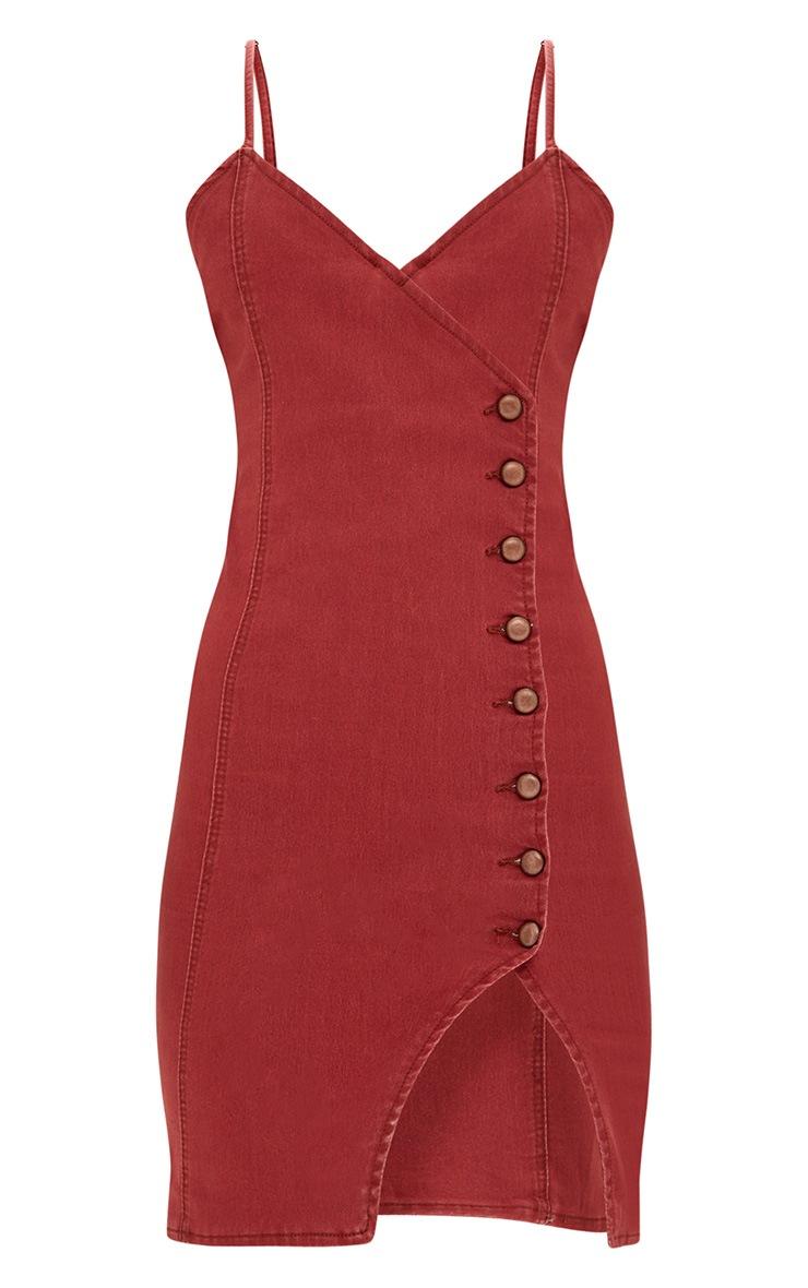 Dark Red Button Detail Bodycon Denim Dress 3