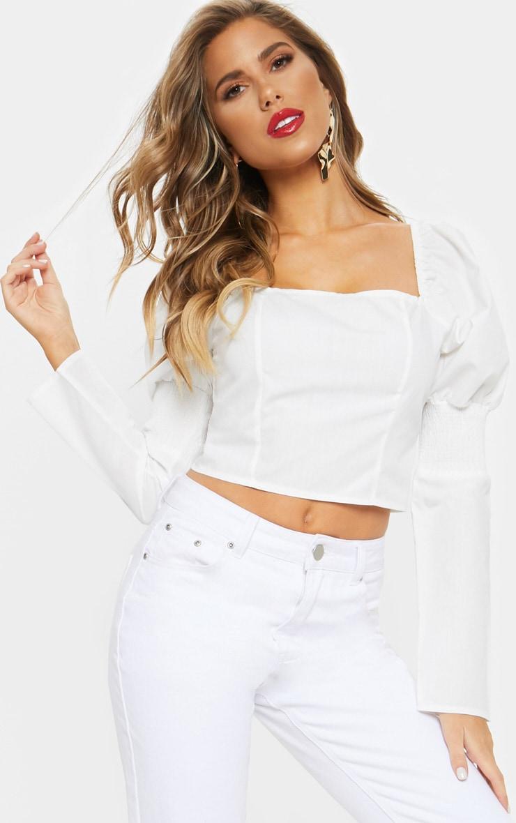 White Shirred Sleeve Crop Top 1
