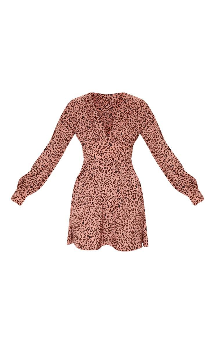 Pink Leopard Print V Neck Long Sleeve Shift Dress 5