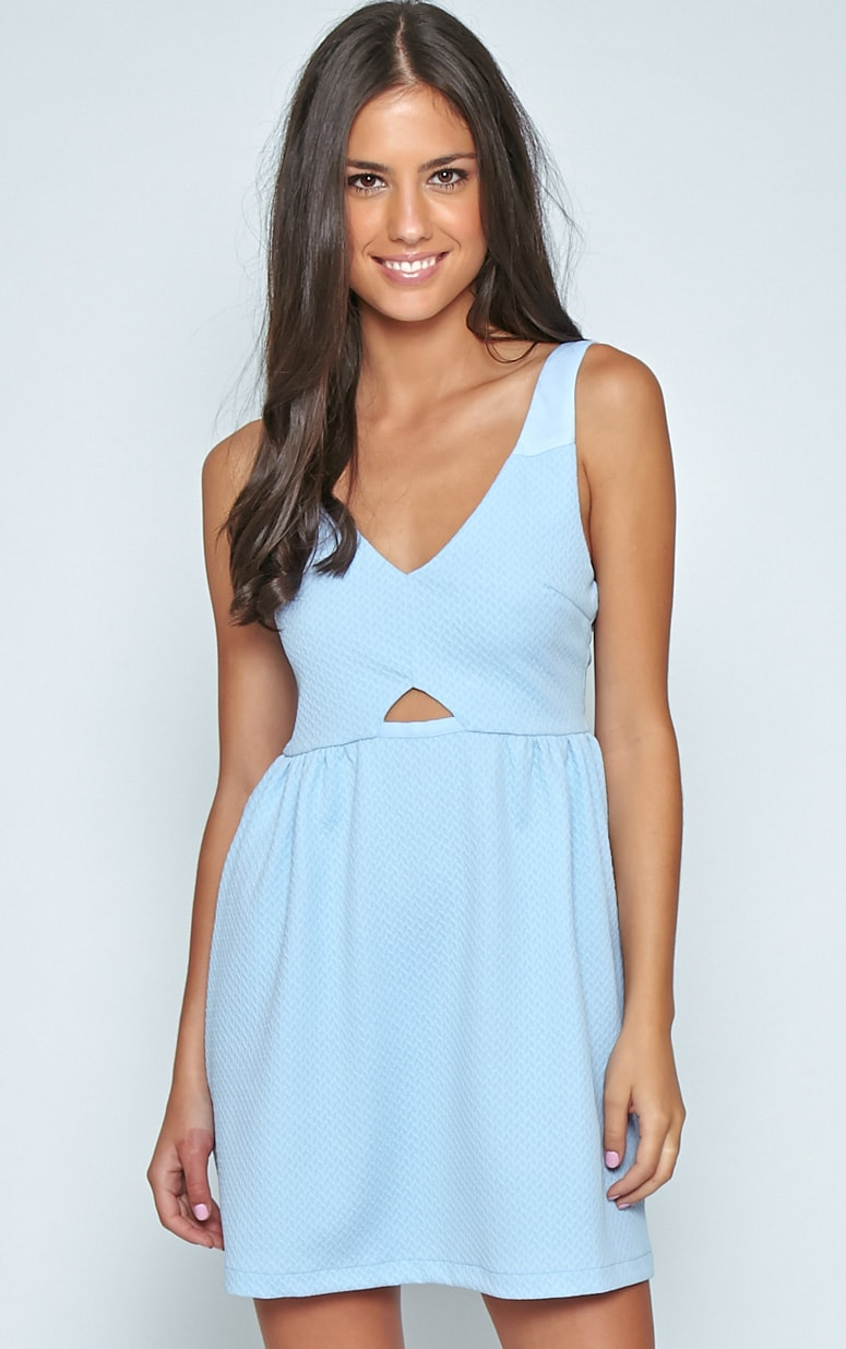 Teri Poweder Blue Textured Cut Out Skater Dress 1